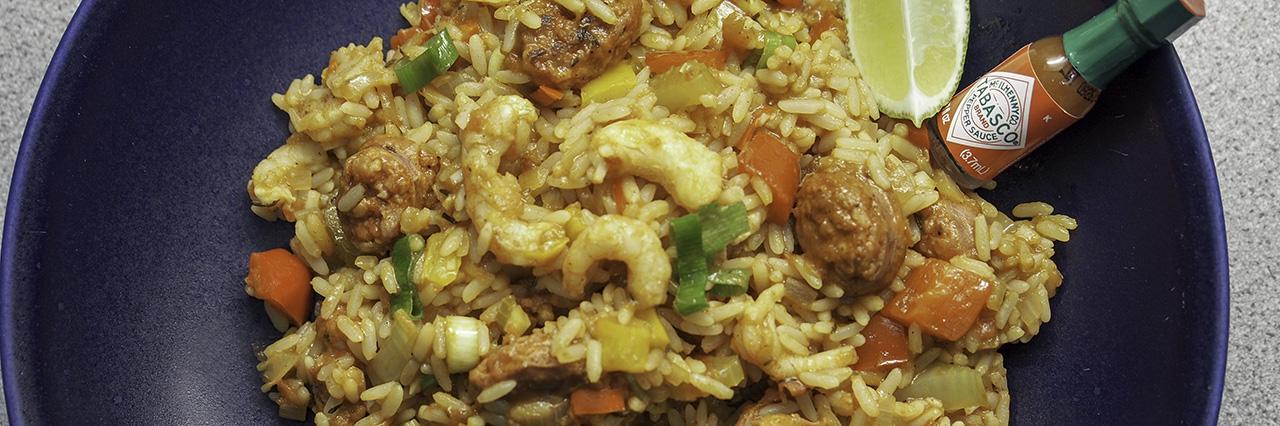 Jambalaya katkarapu chorizo tabasco kreoli ruoka resepti riisi