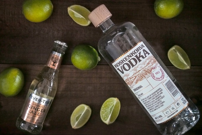 Moskovan muuli drinkki cocktail Fever-Tree ginger ale Gray Goose vodka lime